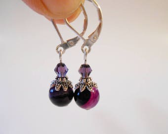 Tiny Purple Agate Earrings 925 Sterling Silver Leverback Earrings February Birthday Formal Bridal Jewelry Bolivian Jewelry Sweet 16 Gift