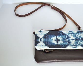 Shibori and Brown Leather Crossbody Foldover Clutch, Fold Over Leather Purse Clutch, Foldover Clutch, Bag, Cognac Leather