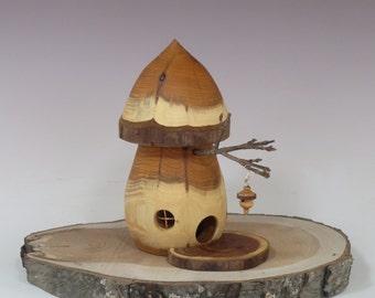 Mushroom Fairy House,  Cool Fairy Houses, Waldorf Style Fairy House, Tooth Fairy House, Turned Wood  Fairy House,  Garden Decor