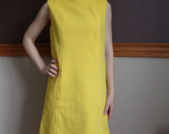 YELLOW MOD SHIFT dress 1960s 60s M