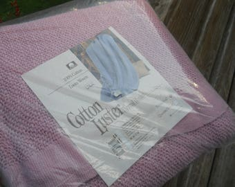 Vtg 100% Beacon Cotton Luster Thermal Pink Rose Blanket-Twin/Full Size-90x72-Loom Woven-Beacon Mfg Co-Made in USA-New in the Package