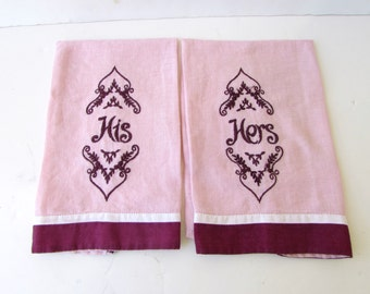 Pair of Vintage Mid Century Hand Towels - Pink and Wine Colored Linen - Embroidered His and Hers - Pink Hand Towels - Vintage Bathroom -