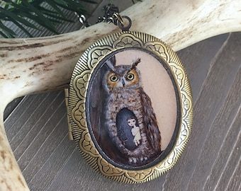 Owl Locket - bird necklace jewelry with owl art pendant