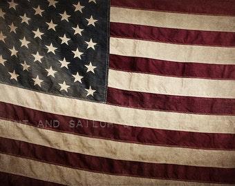 Vintage American Flag , Photo Print, Boys Room decor, Boys Nursery Prints, Wall Art