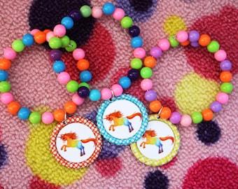Girls Fancy Rainbow Unicorn Birthday Party Favor Bracelet 6pk