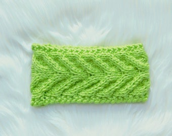 Ready to Ship / Handmade Cableknit Headband in Lime / Antler Cable Headband / Women's Headband