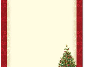 25 or 80pk Lacy Tree Winter Holiday Christmas Letterhead Stationery