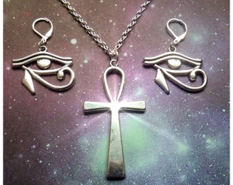 Ankh and Eye of Horus necklace and earrings set