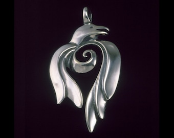 Raven  Pendant / Symbolic Jewelry, Spiritual Totem - Sacred Symbols Collection - Sterling Silver