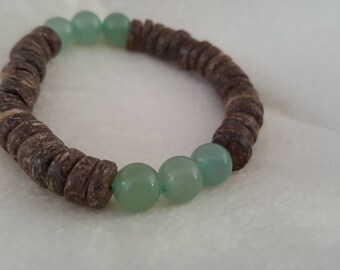 Green aventurine and coconut shell