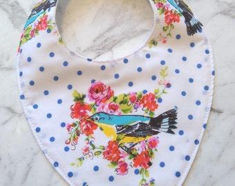 Birds and polka dot dribble bib