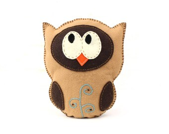 Stuffed Owl Sewing Pattern, Felt Owl Plush Softie, Woodland Owl Pattern, Owl Plushie, Owl Stuffie, Instant Download PDF, Embroidery Owl PDF
