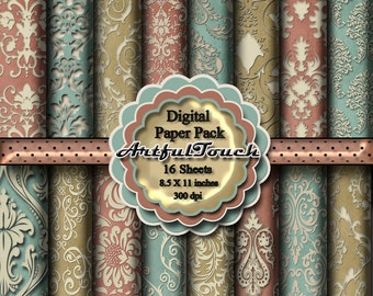Digital paper: Digital Paper Pack, Pastel Digital Scrapbook Paper Pack, Printable Digital Paper, Damask Scrapbook Paper  INSTANT DOWNLOAD