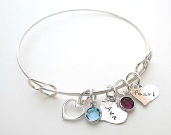 Personalized Bracelet with Birthstones - Custom Heart Bangle - Personalized Jewelry - Mothers - Son - Daughter - Grandma - Family - Name