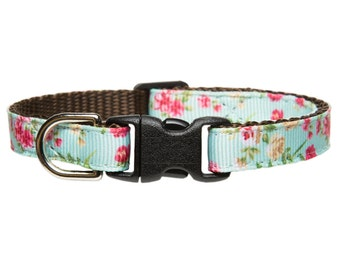 "Cat Collar - ""The Leading Lady"" - Teal with Floral Print"