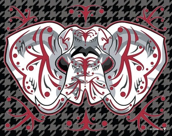 University of Alabama Elephant Sugar Skull 11x14 print