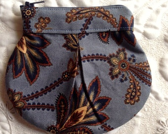 Zipper Pouch - Clutch - Blue Floral Reproduction Print- Made to Order