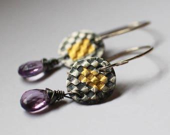 24k Gold and Silver Earrings - boho gift for mom - gift-for-her - amethyst - sara westermark - etsymetal team - keum boo - 24k gold -