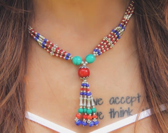 Tribal Colorful Beaded Necklace