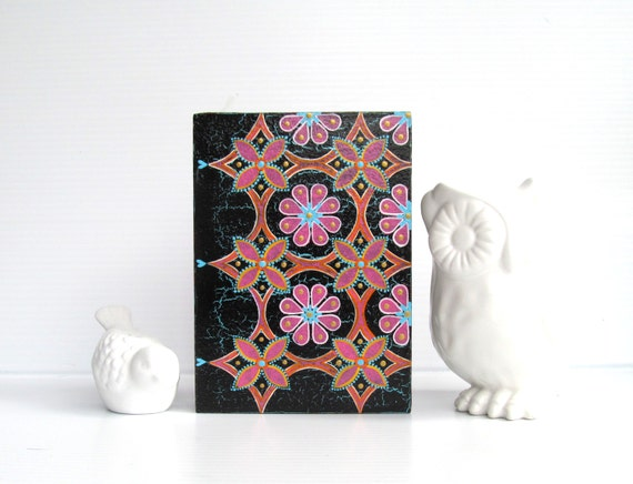 Pink Flowers Colorful wall art on hollow wood box Pink and yellow