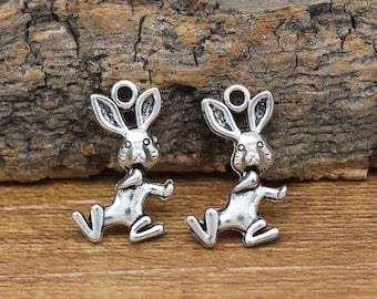 30pcs Antique Silver Rabbit Charms Pendant 19x12mm C3019-Y