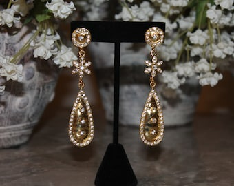 Dazzling Drop Earrings with Meena and Stone Work - #2525.04