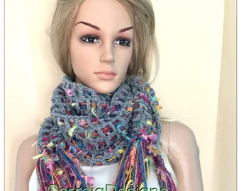 Hippy rainbow infinity cowl Womens teens flower grey scarf scarflette neck warmer hippy boho festival xmas accessories crochet knit pixie