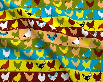 Colorful Hens Fabric - Pop Chickens By Lyddiedoodles - Chicken Stripe Farm Decor Cotton Fabric By The Yard With Spoonflower