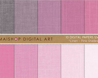 Digital Paper Linen 'Pink Shades' Bright, Baby, Desaturated Pink - Decoupage Paper, Collages, Paper Crafts, Diy Crafts...