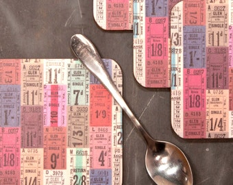 Tickets Coasters, vintage bus tickets design, travel ephemera tablemat, blue, pink and teal placemat for your drink