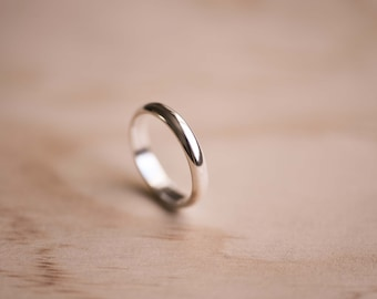 Half Round Sterling Silver Ring - 100% Recycled Sterling Silver