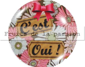 Set of 2 cabochon 25mm round glass pink and white text