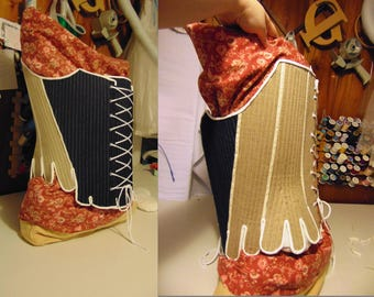 Custom 18th century stays, corset. Stomacher Design. Authentic construction & Hand Stitching. Made to Fit.