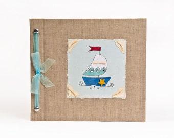 Baby Book - Baby Memory Book - Boy, Sailboat, Baby Boy Album - Nautical - Sailboat Baby Memory Book - Hugs and Kisses XO Baby Memory Book