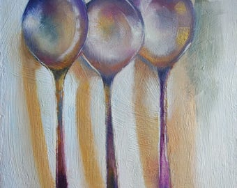 Original small oil painting of vintage spoons