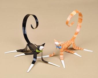Orange Tabby Cat and Tuxedo Cat Reclining Sculpture Handmade Copper Miniature Collectible Art, Cat Art, Cat Figurine, Tuxedo Cat Art