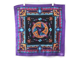 Vintage SOUTHWEST bandana bandanna purple geometric 80s 90s