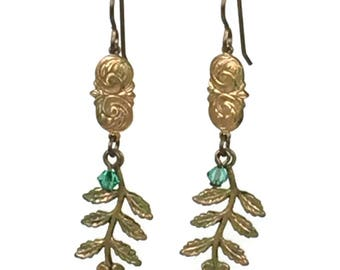 CLEARANCE Painted flower dangles with crystal accent