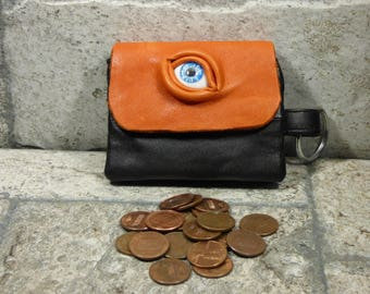Zippered Coin Purse Orange Black Leather Change Purse Monster Face Pouch Key Ring Harry Potter Labyrinth 9