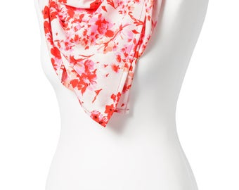 Handmade, Pink and White Floral Square Scarf