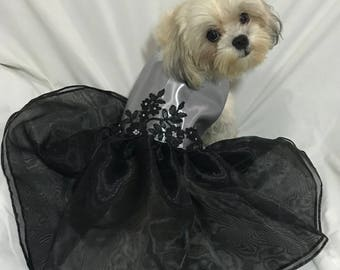 Silver and Black Gown / Dress for Dogs
