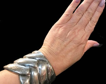 Estate Stunning Vintage Solid Sterling Silver Abstract Braid Cuff Bracelet