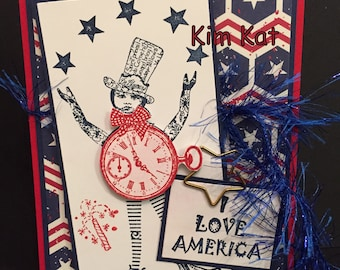4th of July Card I Love America Pop Up 3D Whimsical Red White Blue Stampin Up OOAK Mixed Media Handmade