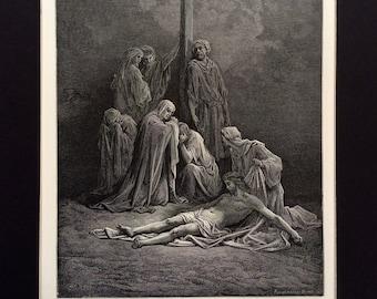DEAD CHRIST JESUS 1870 Antique Engraving Gustave Doré Bible Crucifixion