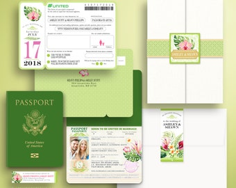 ASH Palm Beach Aruba Boarding Pass and Passport Destination Wedding Invitation