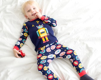 12M-7T 100% Cotton 2pcs Infant Kids Boys Loungewear Pajama Sleepwear Set Robot