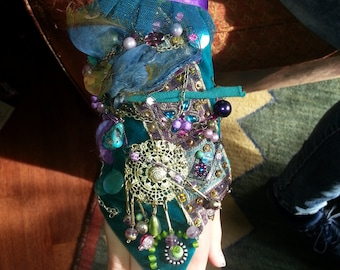 Green velvet armcuff, fantasy, wedding, burning man, boho gypsy