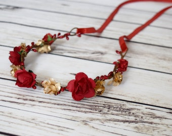 Handcrafted Romantic Red and Gold Flower Crown - Red Rose Flower Crown - Medieval Flower Crown - Renaissance Flower Crown - Woodland Halo