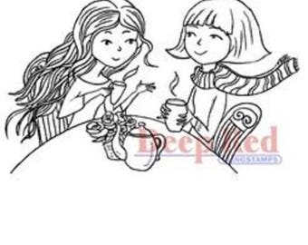 Deep Red Rubber Cling Stamp Girls Having Tea Time Women Tea Party