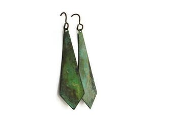 Geometric Earrings / Verdigris Patina / Triangle Earrings / Verdigris Earrings / Pyramid Earrings / Angles / Triangle Jewelry